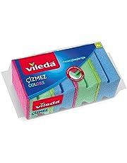 Vileda 169750 Colors Çizmez Sünger 4'lü Oluklu, Yeşil-Mavi-Pembe