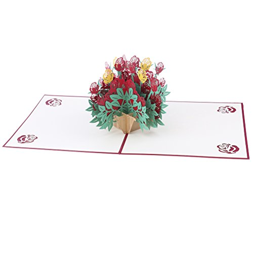 Bloomeet 3D Pop-Up Greeting Cards Handmade Flowers Rose Basket Origami Card for New Year's Thanksgiving Valentine's Day Mother's Day Wedding Birthday Christmas Card, with (New Years Basket)