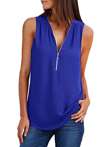 ZKESS Women's Tops Sleeveless V Neck Half Zip Up Tank Casual Summer T Shirt Blouse Tops Blue L 12 14