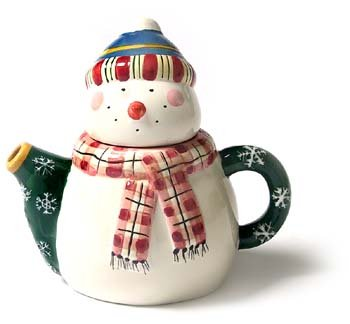 Ceramic Teapot Mini  Snowman with Plaid Scarf
