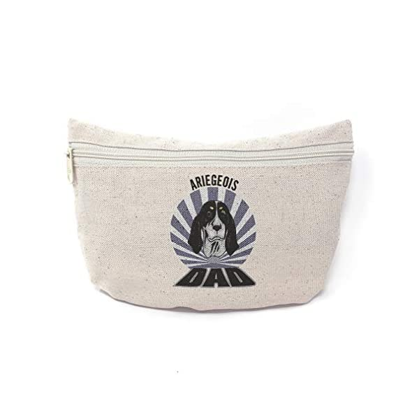 Custom Canvas Makeup Bag Dad Ariegeois Dog School Supplies Pencil Tote Pouch 9x6 Inches Natural Design Only 1