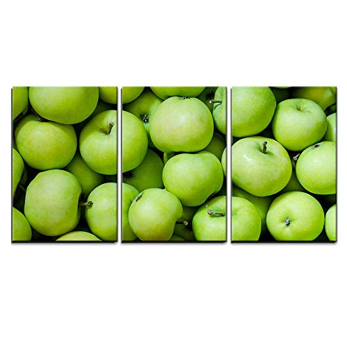 Apples Canvas Art - wall26 - 3 Piece Canvas Wall Art - a Lot of Green Apples as a Background - Modern Home Decor Stretched and Framed Ready to Hang - 24