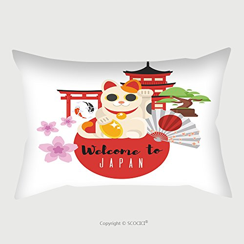 Custom Satin Pillowcase Protector Vector Flat Style Set Of Japanese Traditional Objects Icon For Web Isolated On White Background 548994931 Pillow Case Covers Decorative by chaoran