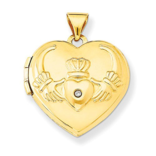 14k Yellow Gold Claddagh Diamond Heart Locket by The Men's Jewelry Store (for HER)