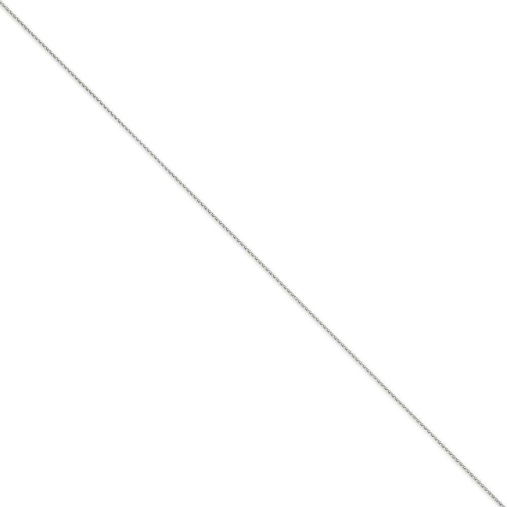 Diamond2deal Or Blanc 14K 0,80mm Ronde blé Chaîne Bracelet 17,8cm