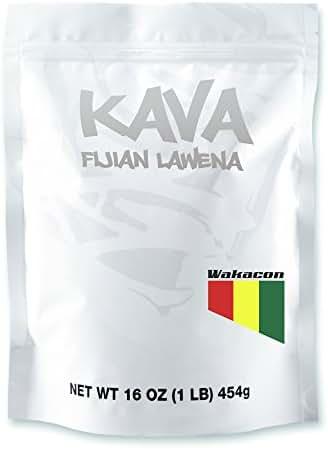 Wakacon KAVA LAWENA Powder - Fijian Noble Premium High Quality Kava Root (16oz)
