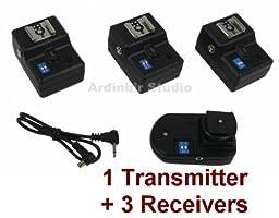 Wireless Radio Remote Flash Trigger 1 Transmitter + 3 Receivers for Nikon D90, DX, D90, D40, D60, D80, D70, D40x, D50, D70s, D300s, D700, D300, DX, D200, D100, D3000, D5000, D3s, D3x, D3, D1, D2x