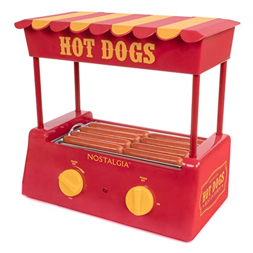 Nostalgia HDR8RY Hot Dog Warmer 8 Regular Sized, 4 Foot Long and 6 Bun Capacity, Stainless Steel Rollers, Perfect For Breakfast Sausages, Brats, Taquitos, Egg Rolls, Red/Yellow (Dog Roller Hot Toaster)