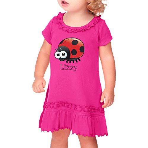- Personalized Custom Girly Ladybug Animal Cute Taped Neck Toddler Short Sleeve Girl Ruffle Cotton Sunflower Dress - Hot Pink, 3T