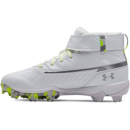 Under Armour Boys' Harper 3 Mid Jr. RM Baseball Shoe, (100)/White, 1.5 (Youth Baseball Cleats)