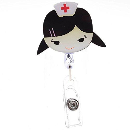 - WSERE 2 Pack Retractable Nurse ID Badge Holder Doctor Name Badges Reel Nurses Nursing Badge Clip Holders, Fine Workmanship Clear Pattern(Style E)