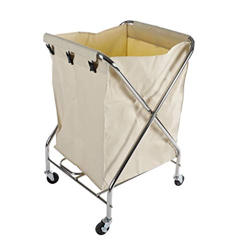 Hotel cart, Stainless Steel Thick Linen car Hotel Hotel Room Cleaning Hand Push Work car by HT trolley (Image #2)