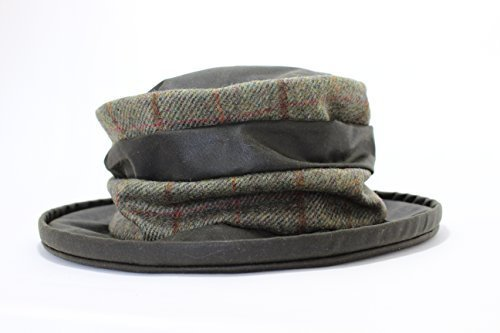 Iris Design Lawrence and Foster Green Waxed Rouched Hat with Traditional Green Checked Tweed (Checked Kilt)