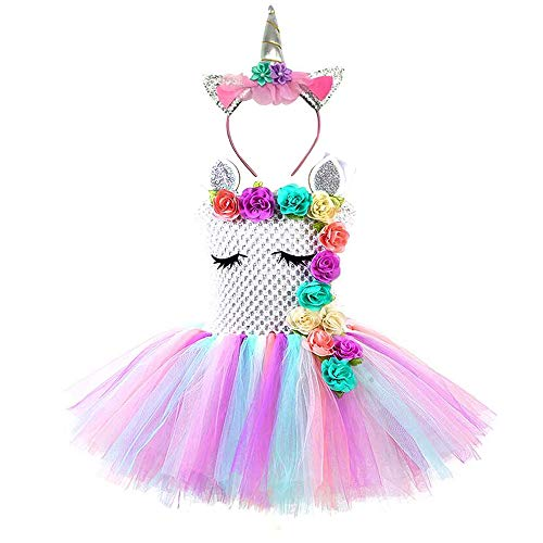 Girls Birthday Party Unicorn Dress Costumes with Flower