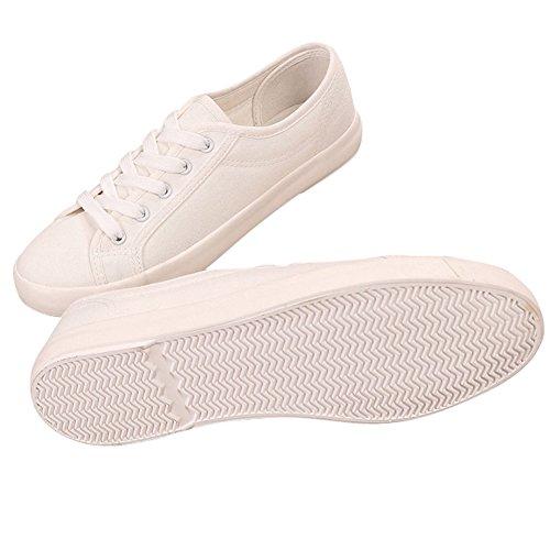 bcc54a6f8a4 ... Womens Mens Unisex Par Duk Snörning Vit Sko Tillfälliga Låg Topp Platta  Mode Sneakers