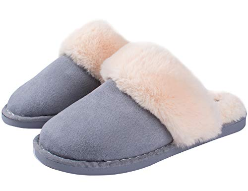 On Winter Plush Blue Fluffy Slippers Women Warm House Fur Lined Men Outdoor Shoes Slip Fuzzy Soft Indoor qXH85wx