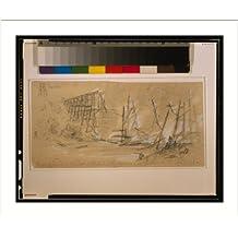 Historic Print (L): Fredericksburgh [sic] and Richmond RR Bridge over N. Anna, in flames