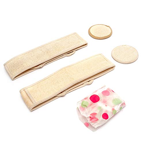 Kozyard CathyCare Professional and Luxury Set of 2 Natural Loofah Back Scrubbers Strap, 2 Exfoliating Loofah Pads and 1 Free Bath Hat (5PCs Suite)