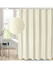 AooHome Extra Long 72x84 Inch Shower Curtain, Fabric Waffle Weave Decor Bath Curtain with Hooks, Weighted Hem, Heavy Weight, Water Repellent, Beige, 72 Width by 84 Height Inch