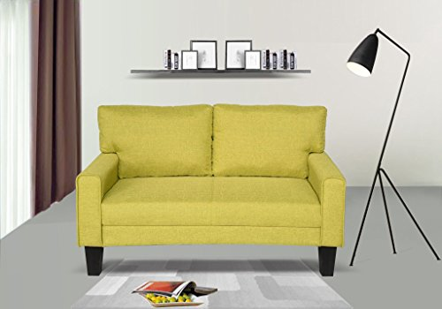 Container Direct Cynthia Contemporary Fabric Upholstered Loveseat, Mustard Yellow