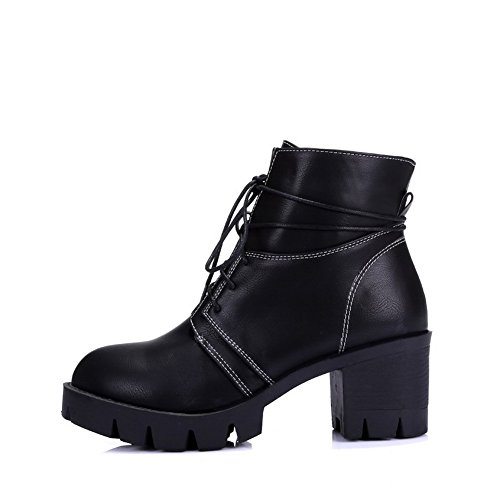 Allhqfashion Donna Tacco A Spillo Tacco Tacco Solido Stivaletti Stringati In Materiale Morbido Nero
