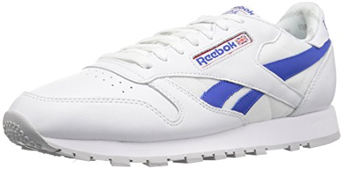 Reebok Men's CL Leather SO Fashion Sneaker, White/Vital Blue/Primal Red/LGH Solid Grey, 9 M (Solid White Mens Shoe)
