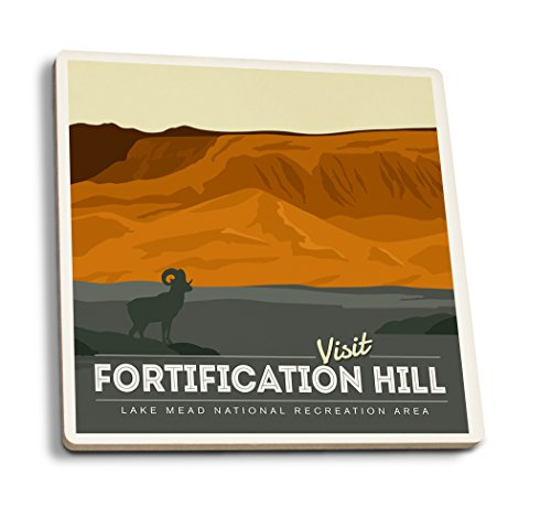 Lantern Press Lake Mead National Recreation Area - Fortification Hill (Set of 4 Ceramic Coasters - Cork-Backed, Absorbent)