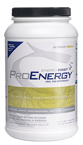 ProEnergy Vanilla Whey Protein Isolate Powder | 100% Natural | Grass Fed Protein | Non-GMO | Undenatured | Low Carb | Meal Replacement, for Pre/Post Workout, 2 lb. Jar by EnergyFirst