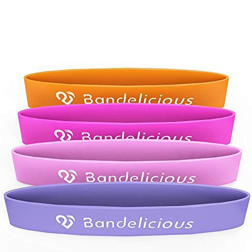 Bandelicious Womens Mini Exercise Bands - Heavy-Duty Latex Resistance Mini Bands - Legs and Arms Workout - Powerlift, Stretching, Fitness Bands - Beginners and Advanced