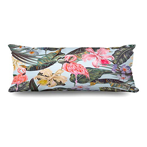 Ahawoso Zippered Body Pillow Cover 20x54 Inches Floral Blossom Gentle Tropical Pattern Fashion Palm Spring Orchid Exotic Vintage Textures Leaf Decorative Cushion Case Home Decor Pillowcase (Springs Palm Upholstery)