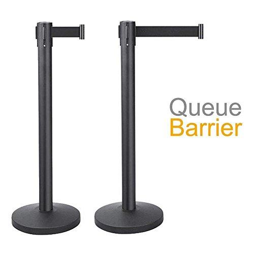 Go2buy 2Pcs Stanchion Set   6 5 Retractable Belt Black   Crowd Control Barrier Posts Queue