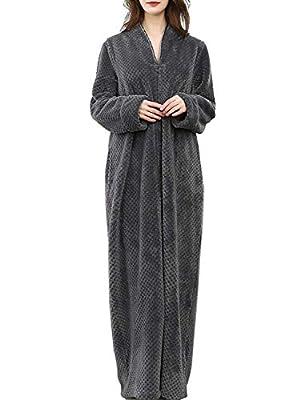 DGGLIFE Women's Fleece Robe Bathrobe Flannel Zipper Front Merbau Texture Warm Long Sleepwear