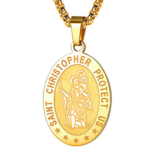 FaithHeart Saint Christopher Necklace Stainless Steel Catholic Patron Saint Medal Pendant Jewelry (Gold/Oval)