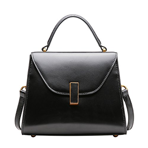 Q0895 Pockets Shoulder Dissa Multiple Black Hard Leather Women Handbags Bag dWWnTSaAwq
