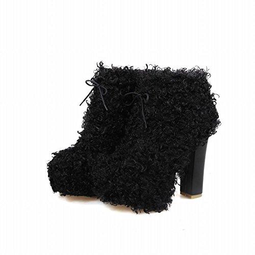 Carolbar Mujeres Lace Up Chic Cosplay Fluffy Plataforma Alto Grueso Del Tobillo Del Vestido Botas Negro