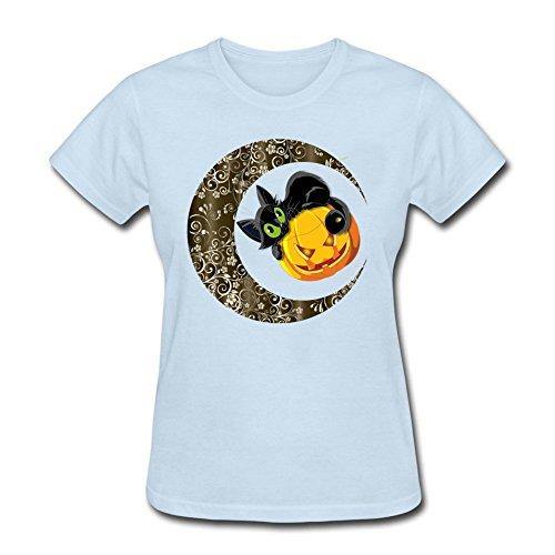 Swag Women's Cat and Pumpkin 100% Cotton Short Sleeve T Shirt Sky blue L -