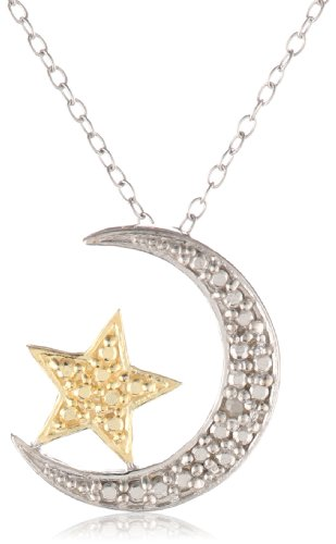Goldtone Finish and Sterling Silver Diamond-Accented Moon and Star Pendant Necklace 18""