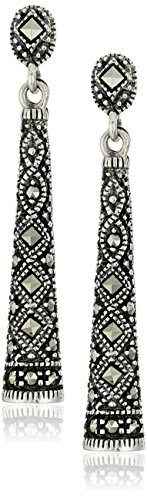 Sterling Silver Marcasite Drop Earrings