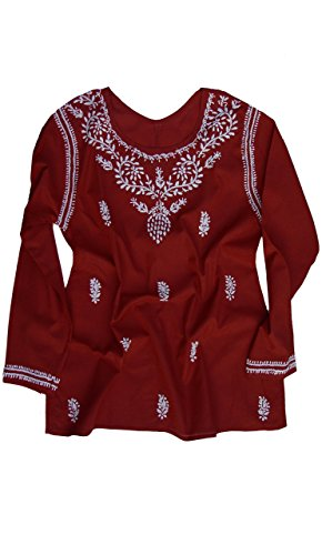 - Ayurvastram Pure Cotton Tunic, Top, Kurti; Hand embroidered: White Embroidery on Red; Size 12