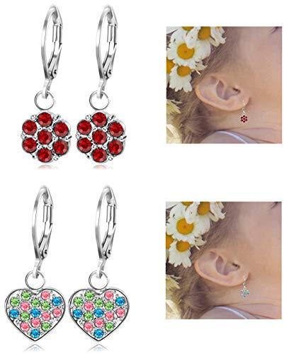 JOERICA 2 Pairs Stainless Steel Leverback Earrings for Girls Heart Dangle Drop Childrens Earrings Flower Crystal Earrings for Kid. (Earrings Leverback Heart Childrens)
