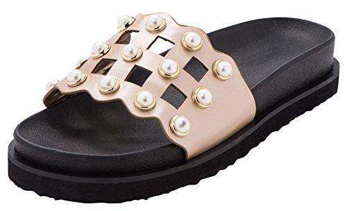 Cambridge Select Women's Open Toe Geometric Cutout Faux Pearl Flatform Flat Slip-On Slide Sandal,8.5 B(M) US,Champagne