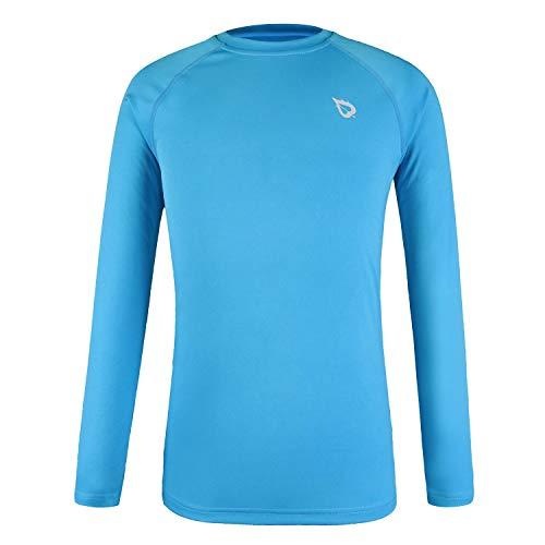 Baleaf Youth UPF 50+ Sun Protection Basic Skins Long Sleeve Boy Shirt Blue Size S (Kids Wicking Shirt)