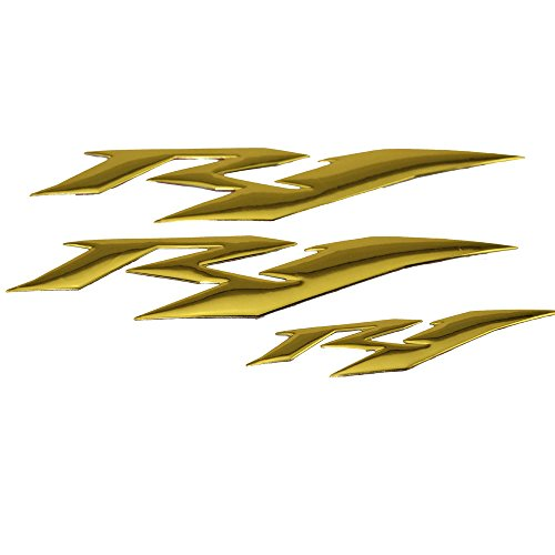PRO-KODASKIN Motorcycle 3D Raise R1 Emblem Stickers Decal for Yamaha YZF1000 R1 (Gold)