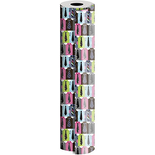 JAM Paper® Industrial Size Bulk Wrapping Paper Rolls - Handsome Ties Design - 1/4 Ream (416 Sq Ft) - Sold Individually