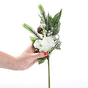 Factory Direct Craft Group of 4 Artificial Glittered Christmas Rose, Pinecone and Holiday Flower Stems 3