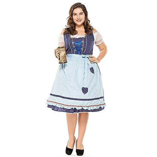 COUTUDI Women Oktoberfest Costume Renaissance German Beer Maid Costume Plus -