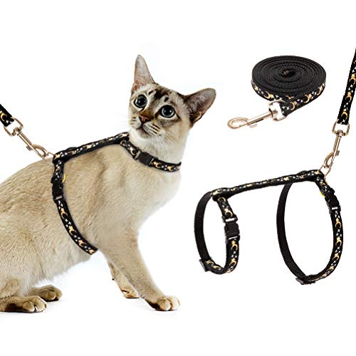 SCIROKKO Cat Harness and Leash Set - Escape Proof Adjustable for Outdoor Walking with Safety Buckle, Moon and Star