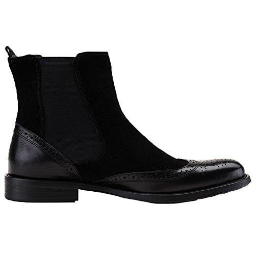 Boots Santimon Chelsea Leather Distinctive Mens Slip Black Suede Dress on Wingtip Brogue p7pHrWqnR