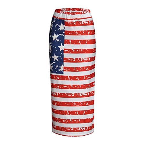 (POQOQ July 4 Summer Dress Women Striped Summer Bohemian American Flag Printed Long Maxi Skirt)