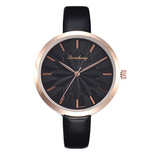 FAgdsyigao Women Wrist Watch, 3D Floral Dial Faux Leather Band Analog Quartz Watches for Birthday Gift Black ()